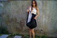 BUFALO BP03 BLACK чёрный кожаный рюкзак-мешок