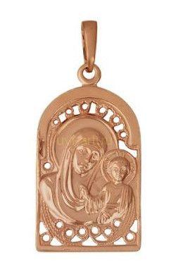Позолоченная православная подвеска-образок Богоматери и младенца Иисуса (арт. 788016)