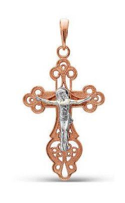 Позолоченный православный крестик (комбинированное золото) (арт. 788018)