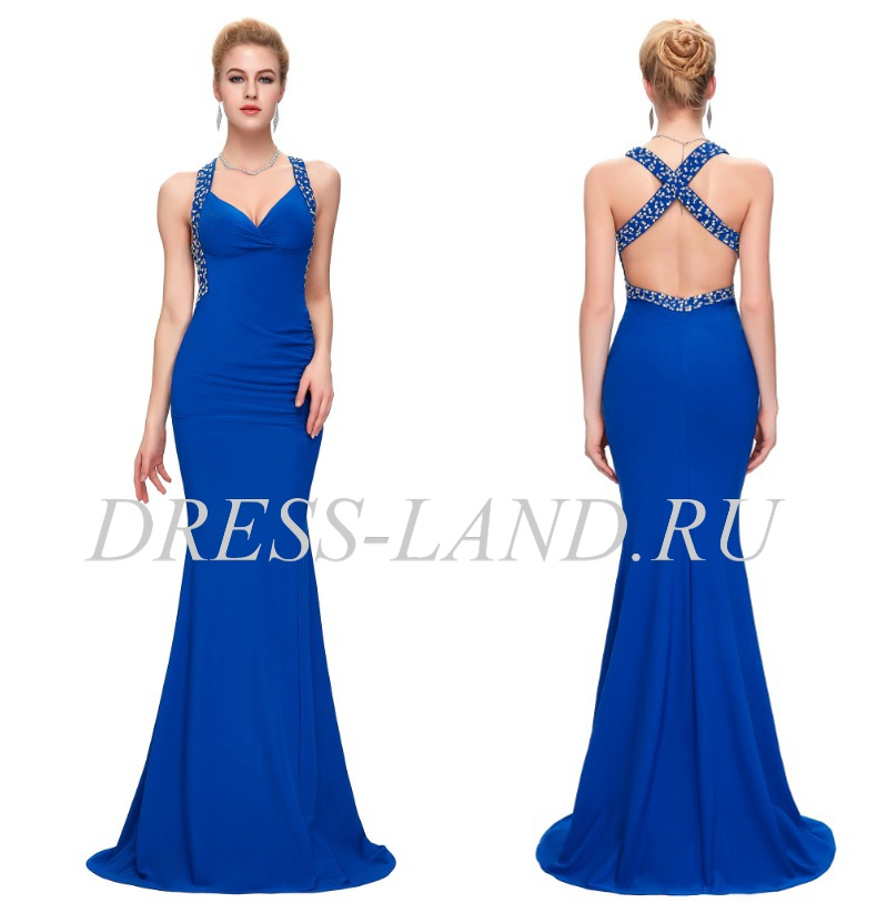 ba4b56078a7 Синее вечернее платье с открытой спиной