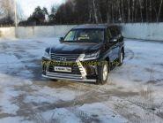 Защита переднего бампера 76х50 мм для Lexus LX 2015 -