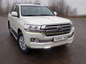 Защита переднего бампера  75х42 мм с ДХО для Toyota Land Cruiser 200 2015 -