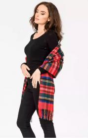 Роскошная классическая шотландская  шаль, высокая плотность, 100 % драгоценный кашемир , Тартан Стюарт Королевский (премиум)