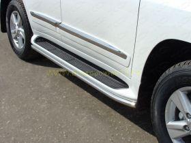 Защита штатных порогов 42 мм  для Toyota Land Cruiser 200 2015 -