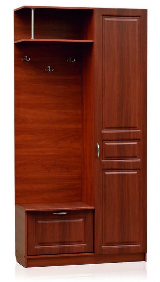 Открытая секция с крючками, тумба под обувь, шкаф со штангой (левый)  Модуль 03, Визит