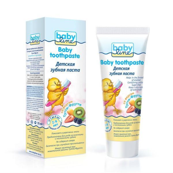 BABYLINE Детская зубная паста со вкусом ТУТТИ-ФРУТТИ от 2 до 6 лет, 75 мл