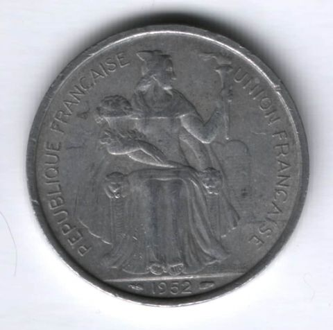5 франков 1952 г. Новая Каледония