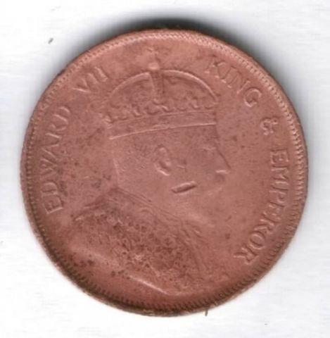 1 цент 1908 г. Стрейтс Сетлментс