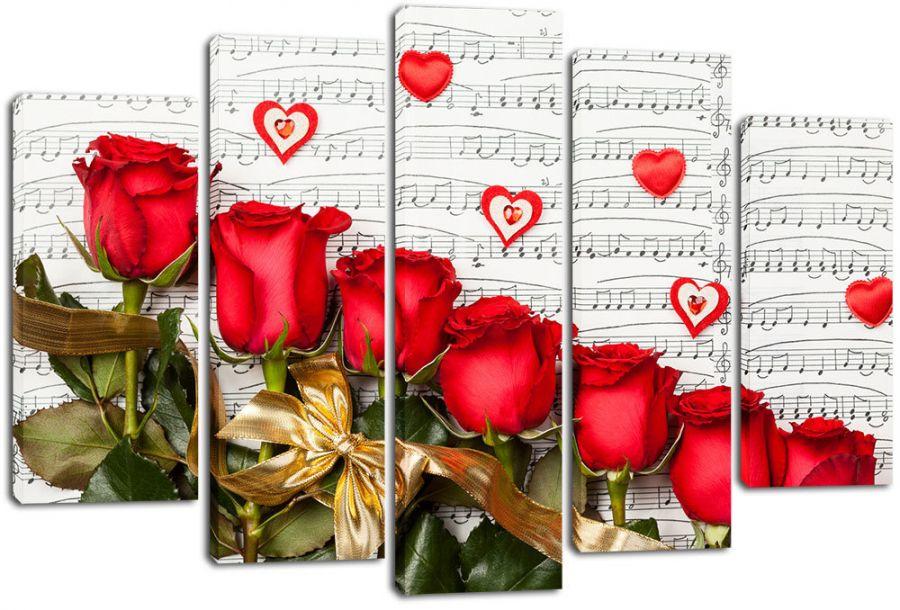 Модульная картина Розы и ноты