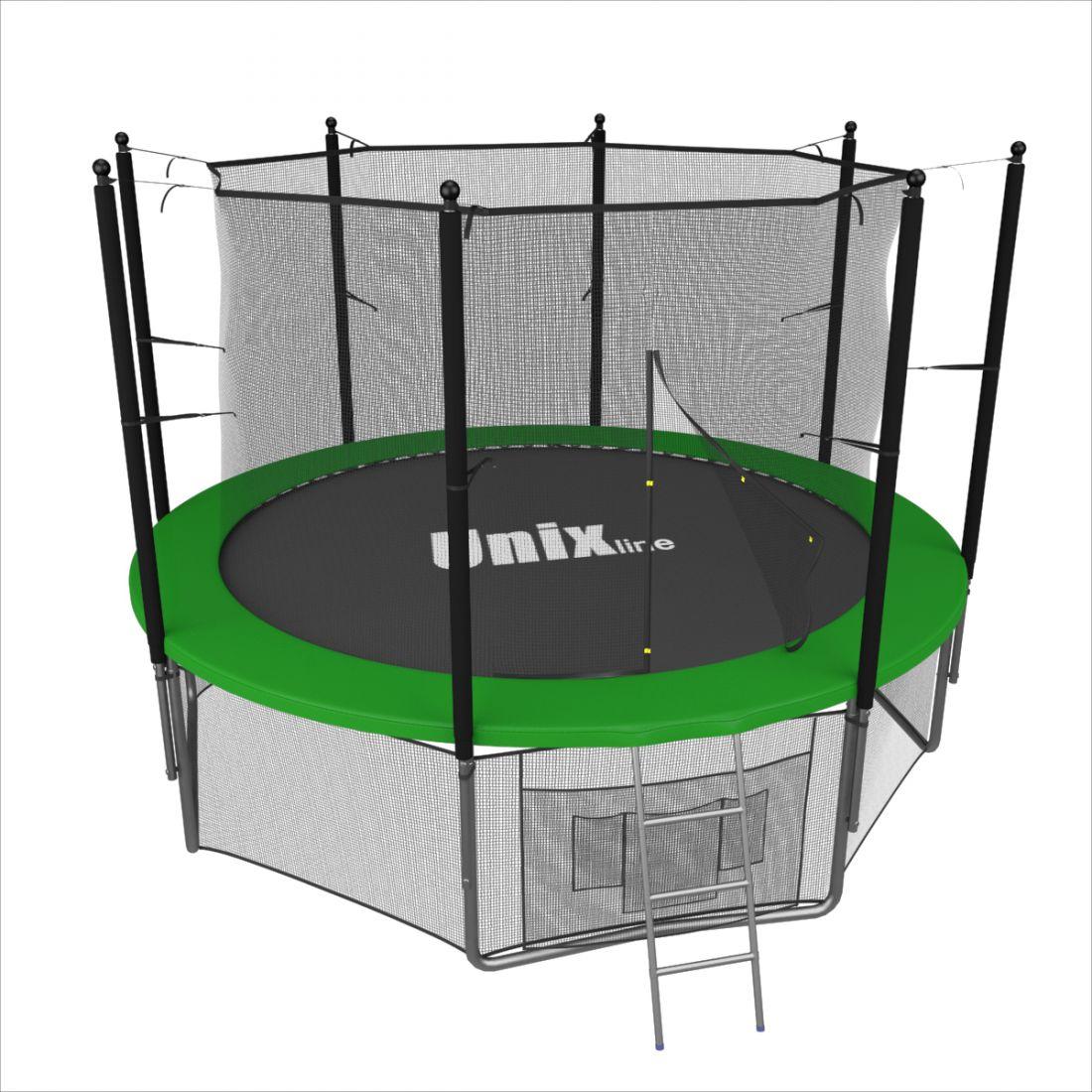 Батут с внутренней защитной сеткой - Unix Line 8FT (2,44м), цвет зеленый