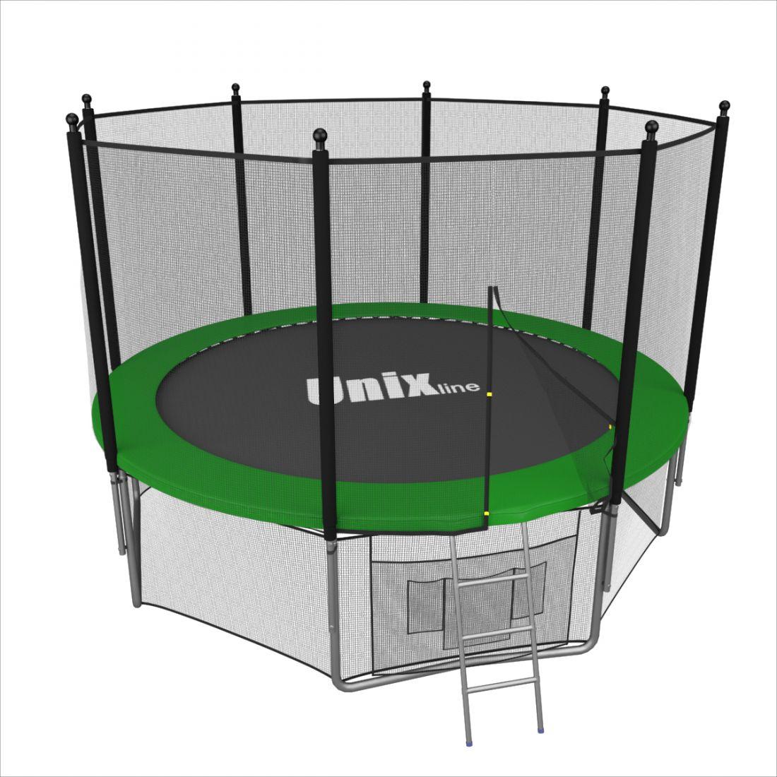 Батут с внешней защитной сеткой - Unix Line 8FT (2,44м), цвет зеленый