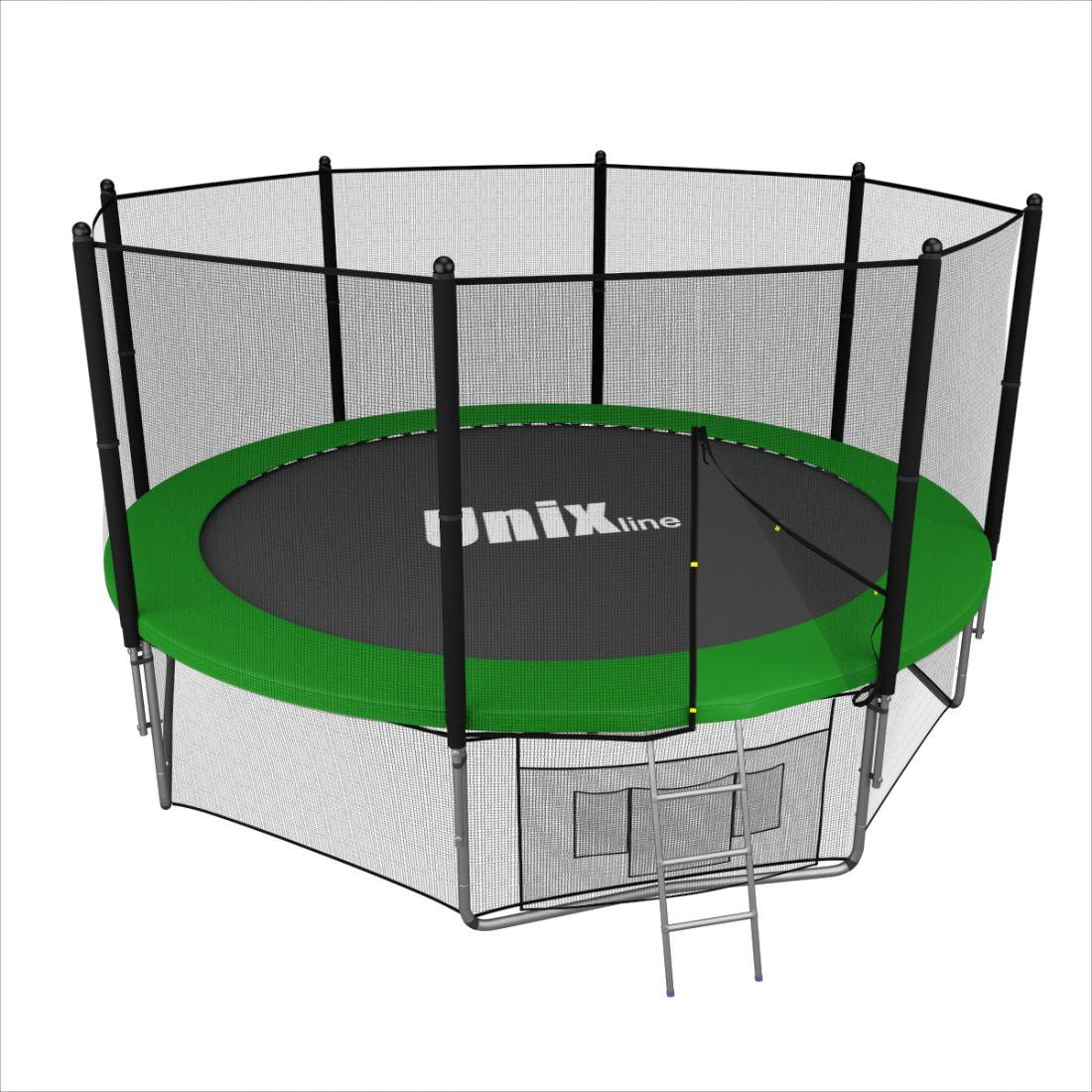 Батут с внешней защитной сеткой - Unix Line 10FT (3,05м), цвет зеленый