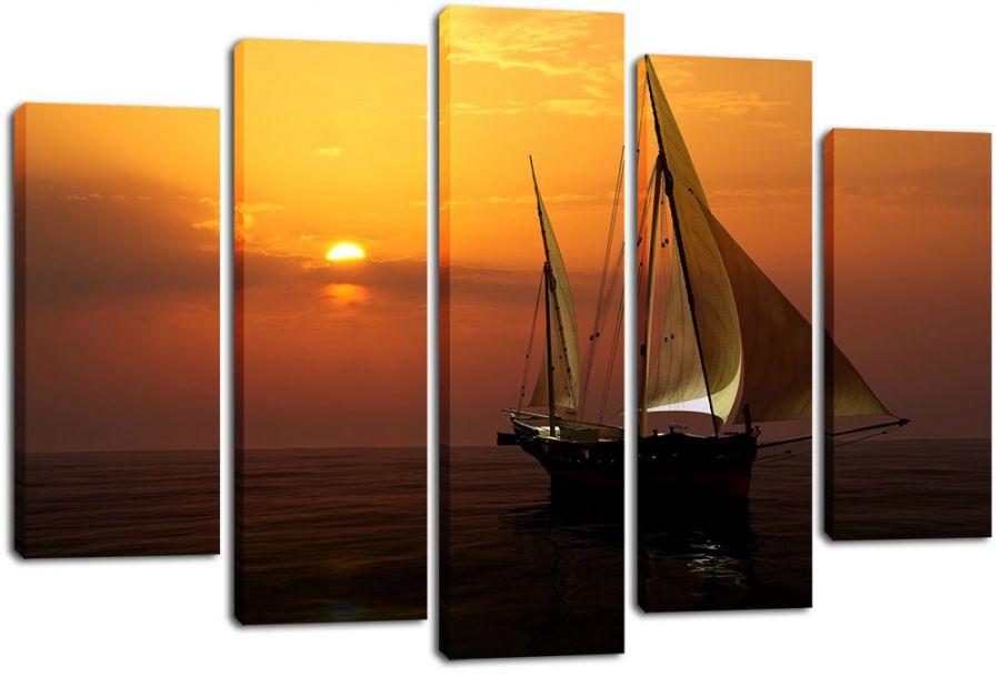 Модульная картина Яхта на закате