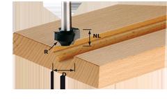 Фреза для профилирования выпуклой четверти HW с хвостовиком 8 мм HW S8 D19/R4