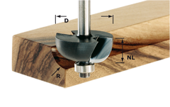 Фреза для выборки желобка HW с хвостовиком 8 мм HW S8 D38,1/R12,7 KL