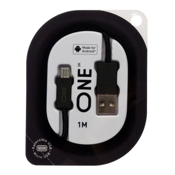 Провод ONE черного цвета для Android (реверсивный USB/Micro-USB)