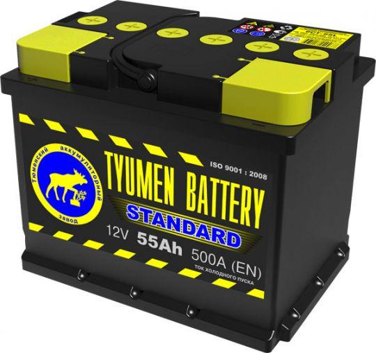 Автомобильный аккумулятор АКБ Тюмень (TYUMEN BATTERY) STANDARD 6СТ-55L 55Aч П.П. сухозаряженный