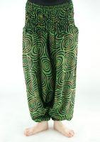 Женские зелёные штаны алладины из Индии, хлопок. Москва, интернет магазин