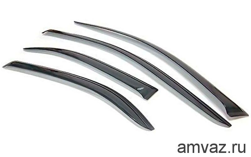 Дефлекторы на боковые стекла Voron Glass серия CORSAR Fiat Albea 2002-2012 /седан/накладные/скотч/к-т 4шт./