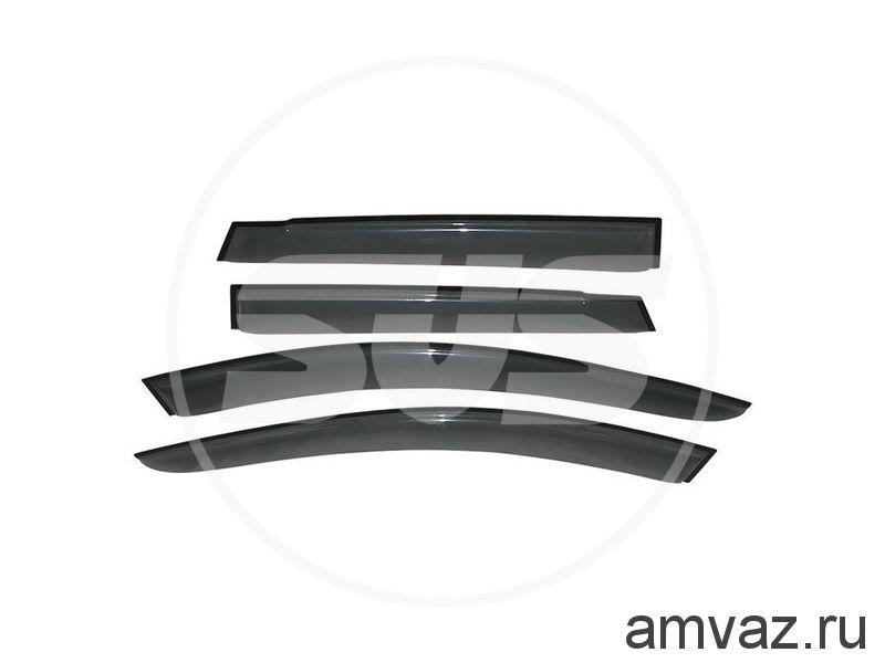 Дефлекторы на боковые стекла Voron Glass серия CORSAR Ford Focus II Hb 3d 2004-2011/хетчбек/накладные/скотч /к-т 2 шт./