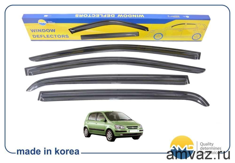 Дефлекторы на боковые стекла Voron Glass серия CORSAR Hyundai Getz 2002-2011 /хетчбек/накладные/скотч/к-т 4шт./