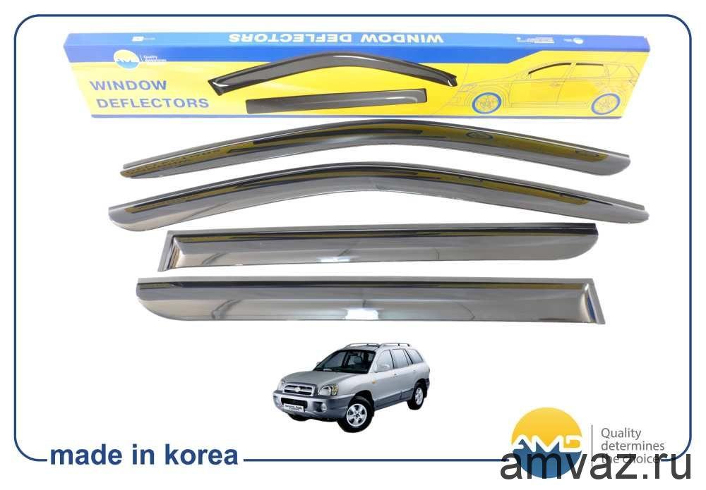 Дефлекторы на боковые стекла Voron Glass серия CORSAR Hyundai Santa Fe I (SM) 2000-2004/Santa Fe Classic 2007-2013