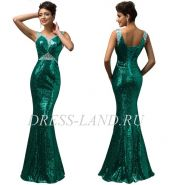 Зеленое вечернее платье, расшитое пайетками