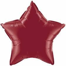 Звезда бургундия шар фольгированный с гелием
