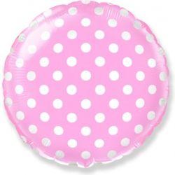 Розовый круг в горошек шар фольгированный с гелием