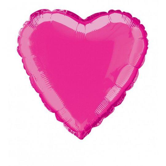 Сердце фуксия шар фольгированный с гелием