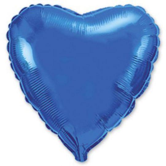 Сердце синее шар фольгированный с гелием