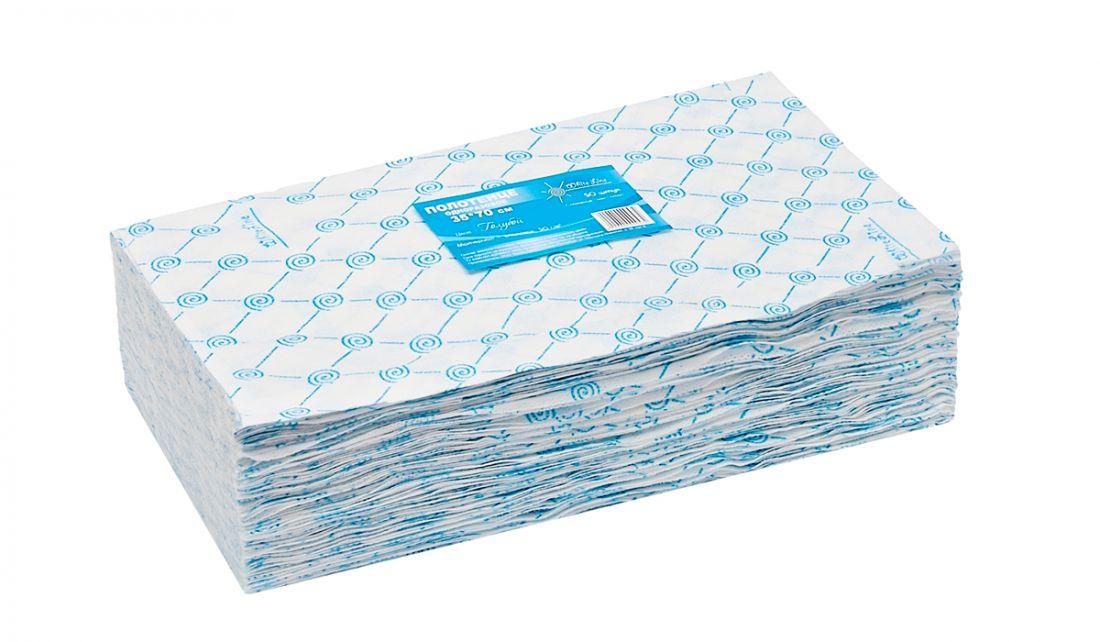 Полотенце малое White line 35*70 пачка голубой спанлейс (№50шт)