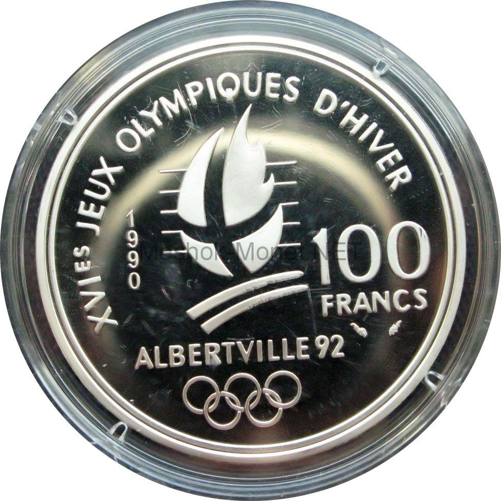 Франция 100 франков 1990 г. - Слалом