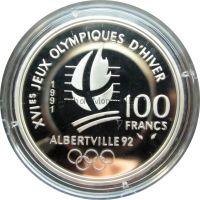 Франция 100 франков 1991 г. - Лыжные гонки