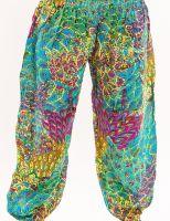 яркие женские шаровары из разноцветной ткани