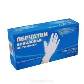 Перчатки виниловые L неопудренные.