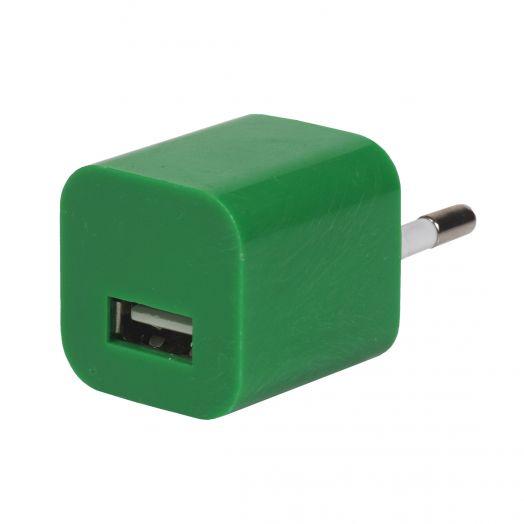 Вилка USB квадрат зеленый(1000 mA, 5V)