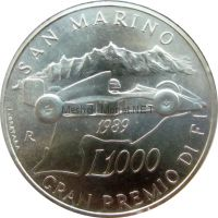Сан-Марино 1000 лир 1989 г. Гран-при Сан-Марино