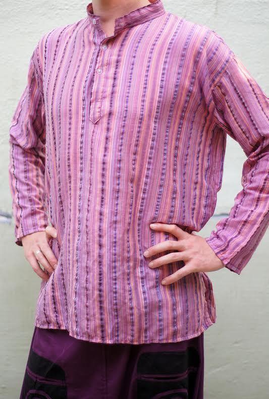 Лиловая мужская рубашка в полоску (отправка из Индии)