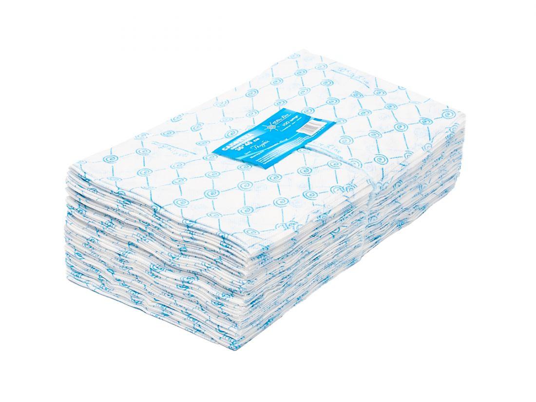 Салфетка одноразовая 30*30 спанлейс голубой White line №100шт пачка