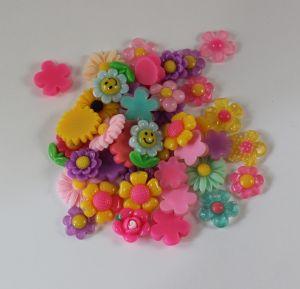 Кабошон, пластик, МИКС, Цветочки, размер: 16-22мм (1уп=50шт), Арт. КБП0282