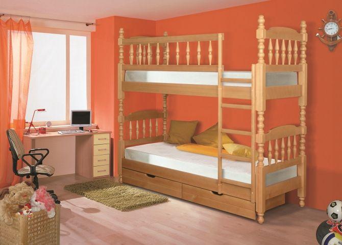 Детская точеная двухъярусная кровать   Альянс XXI век
