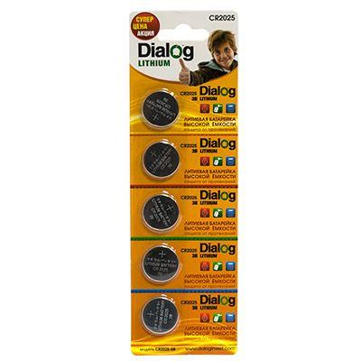 Батарейка литиевый элемент питания (диск) Dialog CR2025-5B