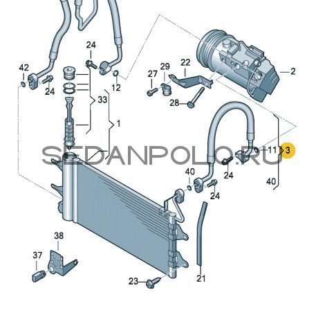 Трубка кондиционера для Polo седан (двиг. CWVA, CWVB)