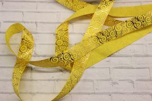 Лента репсовая с рисунком, ширина 22 мм, длина 10 метров цвет: желтый, Арт. ЛР5195-2