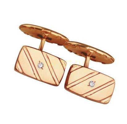 Позолоченные запонки с цирконом (арт. 788033)