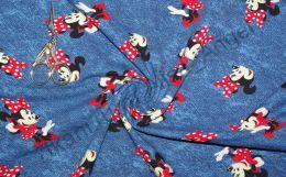 Микки на джинсе кулирка с лайкрой отрез 0.45м