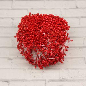 Тычинки перламутровые двусторонние, 3х60мм, цвет №20 красный (1уп = 1500-1600 тычинок)