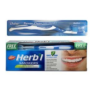 Зубная паста Дабур Для курящих + зубная щётка Dabur 150 гр(ДЛЯ КУРИЛЬЩИКОВ)