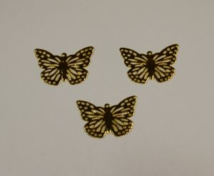 """`Декоративный элемент """"филигрань"""" бабочка 20х29 мм, цвет золото"""